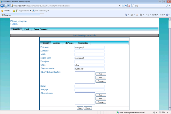 Self profile update web based employee active directory profile
