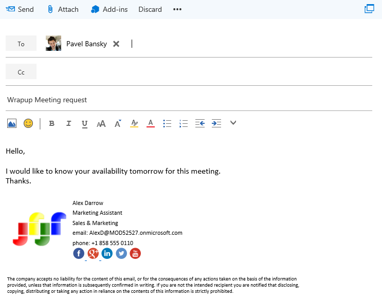 how to add image to signature office 365