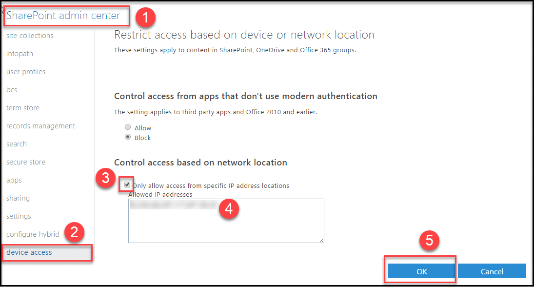 Conditional access by network location for SharePoint Online