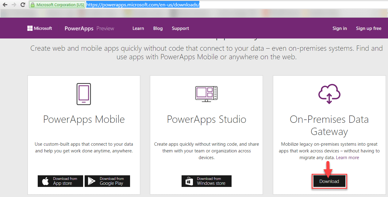 Connect on premise data to PowerApps/Flow/PowerBI using 'On