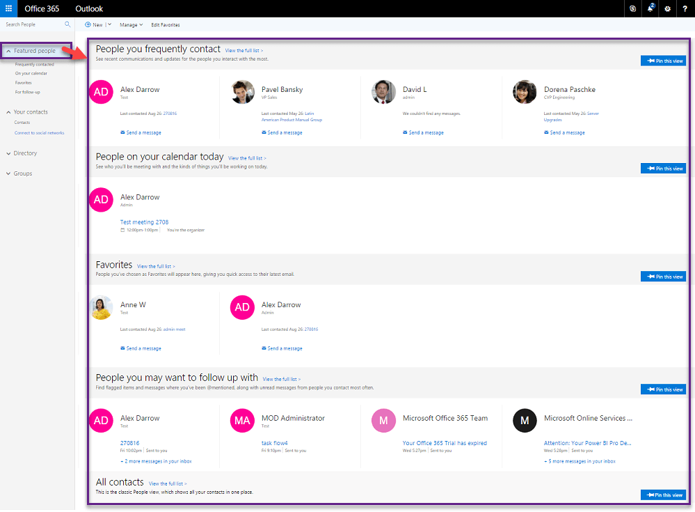 Featured People - New People view in Outlook Web App