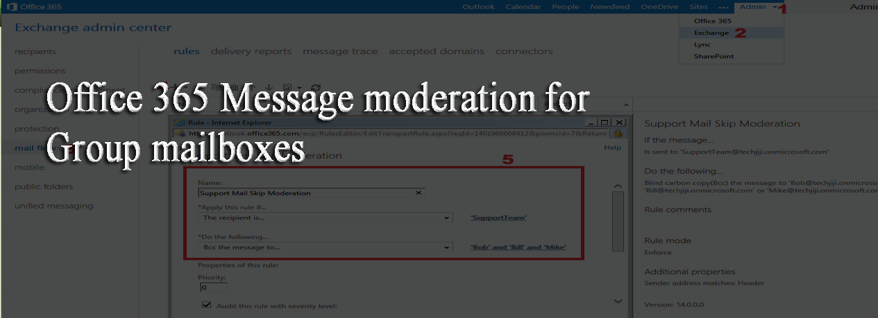Office 365 Message moderation for Group mailboxes