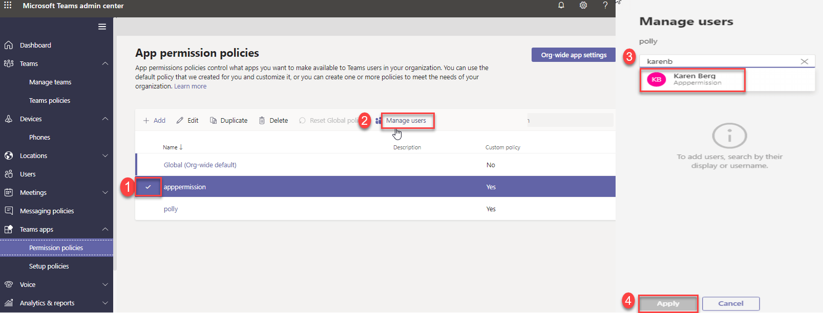Microsoft Teams App Permission Policy