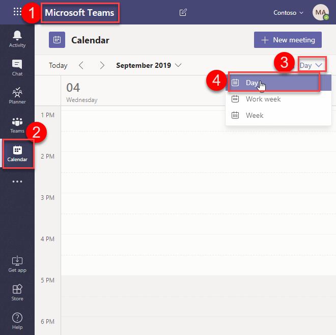 Calendar App in Microsoft Teams