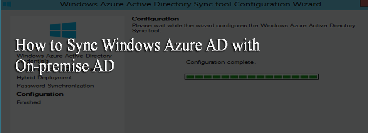 How to Sync Azure AD with On Premise AD?