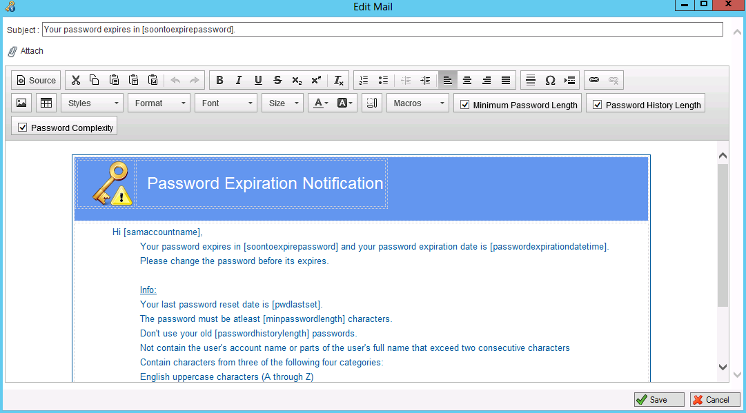 Jiji password expiration notification email customization for Password change email template