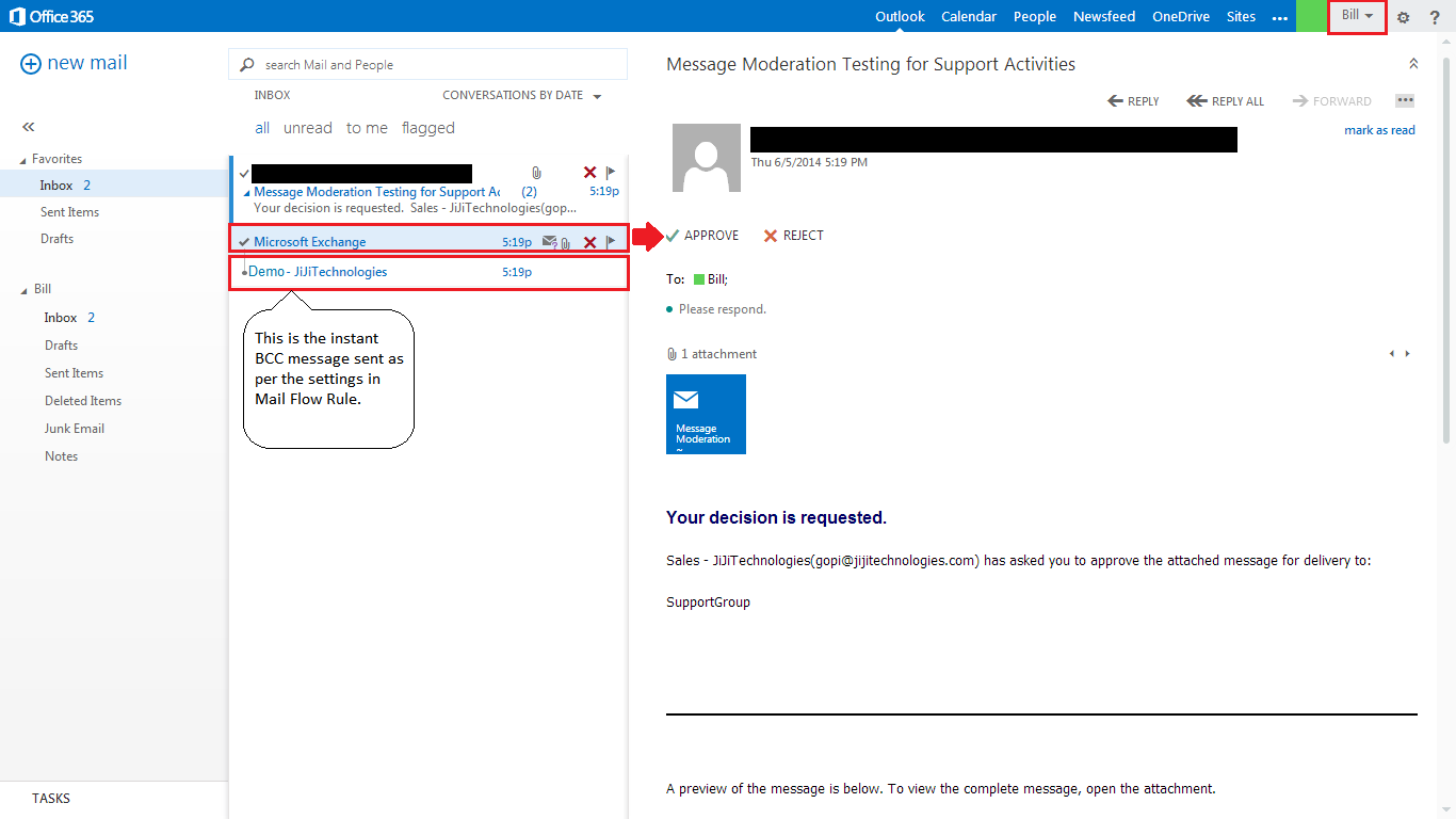 Office365 message approval